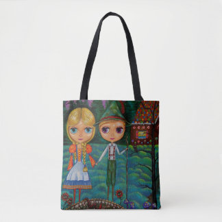 Hansel & Gretel Gingerbread House Big Eye Dolls Tote Bag
