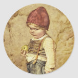 Hansel With Golden Apple Classic Round Sticker