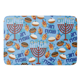 Hanukiahs, Menorahs, and Candles Pattern Bath Mat