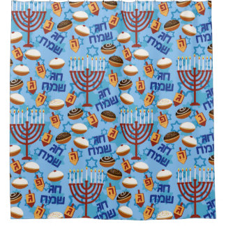 Hanukiahs, Menorahs, and Candles Pattern Shower Curtain