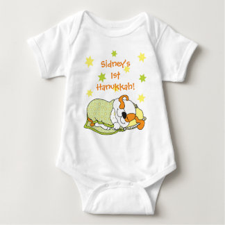 Hanukkah Baby Body Suit/dog/Green Orange Baby Bodysuit