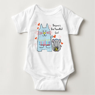 Hanukkah Baby Jersey Body Suit/Blue Cat and Mouse Baby Bodysuit