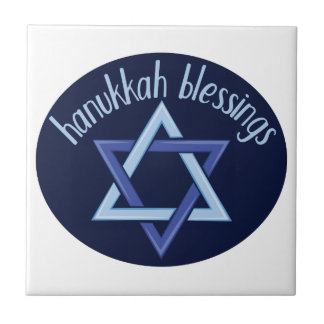 Hanukkah Blessings Small Square Tile