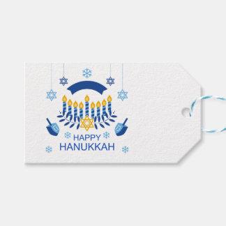 Hanukkah Blue Gold Menorah Dreidel Snowflakes Gift Tags