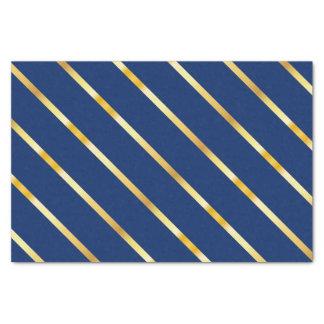 Hanukkah Blue & Golden Diagonal Thick Stripes Tissue Paper