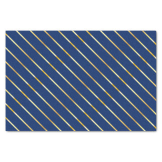 Hanukkah Blue & Golden Diagonal Thin Stripes Tissue Paper