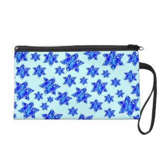Hanukkah Blue Paint Splatter Jewish Stars Wristlet