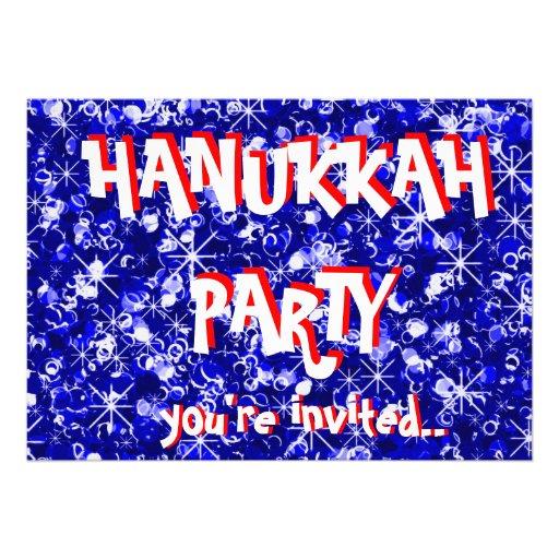 Hanukkah blue party invitation