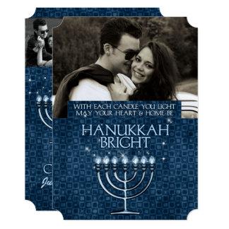 Hanukkah Bright Blue Menorah 3-Photo Card