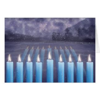 Hanukkah Candles & Snowy Window Greeting Card