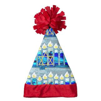 Hanukkah Candles with Gold Star of David Santa Hat