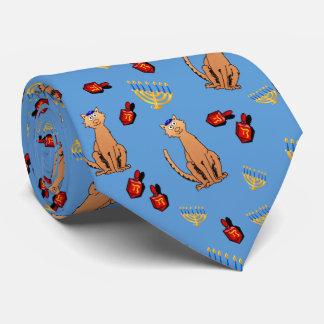Hanukkah Cat Dreidel Blue Tie