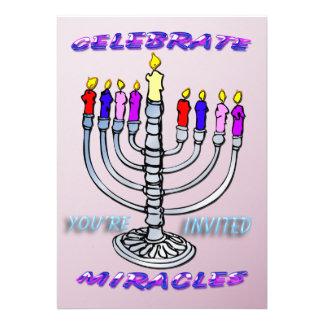 Hanukkah - Celebrate Miracles Menorah Invitation