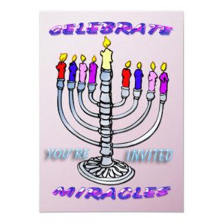 Hanukkah - Celebrate Miracles, Menorah Invitation