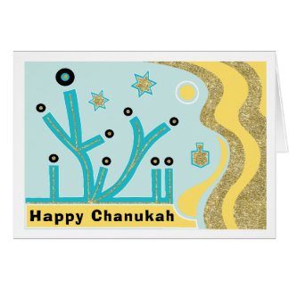 Hanukkah/Chanukah Greeting Card/Envelope Blue/Gold Card