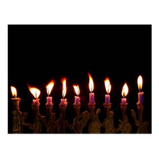 Hanukkah Chanukah Hanukah Menorah Burning Candles Postcard