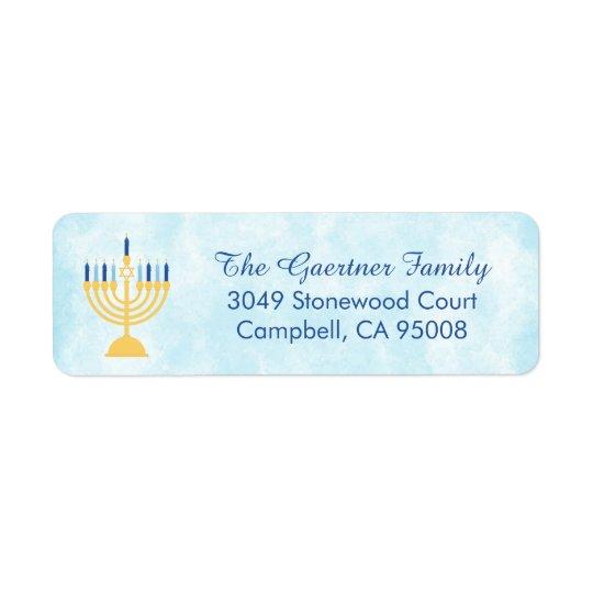 Hanukkah Chanukah Menorah Return Address Label