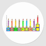Hanukkah Children's blocks menorah Round Sticker