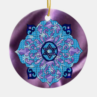 Hanukkah Double-Sided Ceramic Round Christmas Ornament