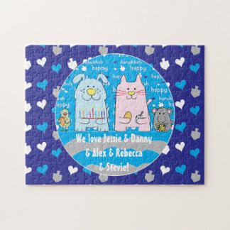 "Hanukkah ""Dog+Cat+Mouse+Bird"" Puzzle Personalized"