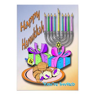 Hanukkah - Donuts, Menorah, Dreidel Invitation