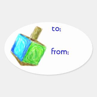 Hanukkah Dreidel Gift Tag Stickers