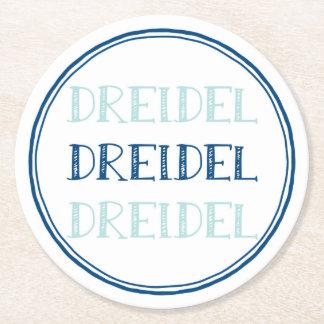Hanukkah Dreidel Modern Round Paper Coaster