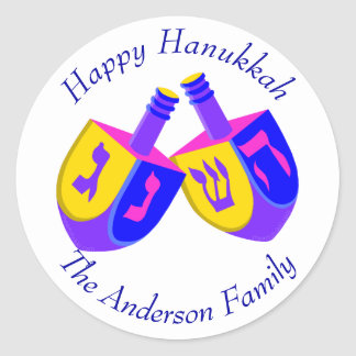 Hanukkah Dreidels Colorful Cheerful Holiday Fun Classic Round Sticker