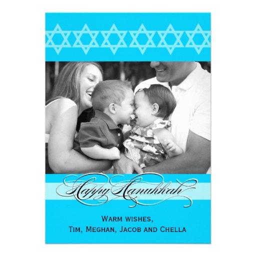 Hanukkah Fancy Script  Photo Cards Announcements