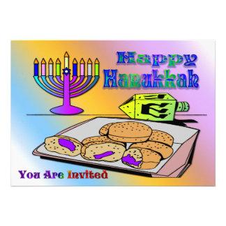 Hanukkah - Food Dreidel Menorah Invitation