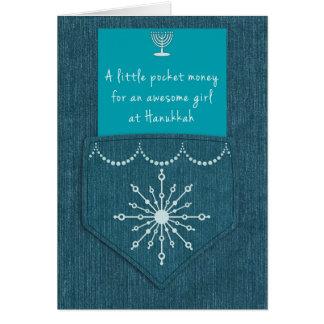 Hanukkah for Girl Denim Pocket Money Enclosure Card