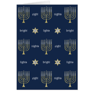 """Hanukkah Gold/B Menorah"" Greeting Card w Envelope"