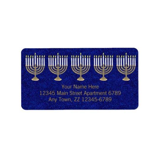 Hanukkah Gold Menorah On Blue Elegant Holiday Label