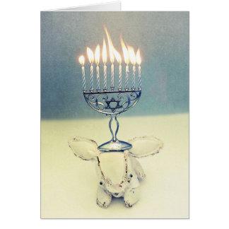 Hanukkah Greeting Card - Aldo a Rabbit and Menorah