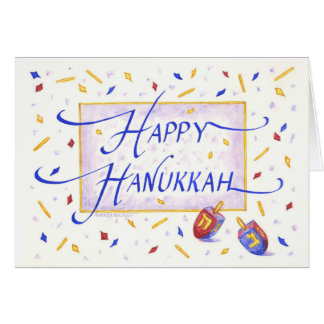 Hanukkah Greeting Card Calligraphy with Dreidels