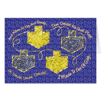 "Hanukkah Greeting Card ""Gold Dreidels"" Personalize"