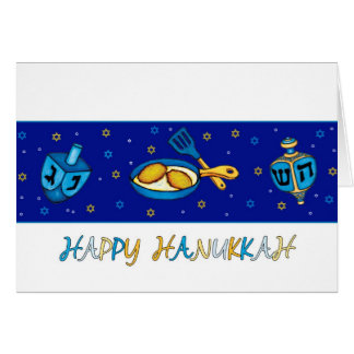 Hanukkah Greeting Card With Dreidel And Latkes