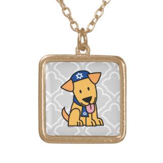 Hanukkah Jewish Labrador Retriever Puppy Dog Gold Plated Necklace