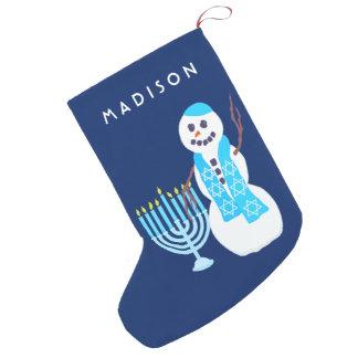 Hanukkah Jewish Snowman Menorah SML Chrismukkah Small Christmas Stocking