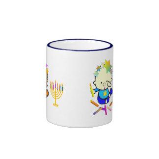 Hanukkah Kids with Candles Ringer Mug