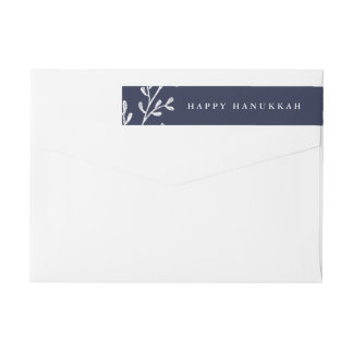 Hanukkah Leaves | Midnight Blue and White Wrap Around Label