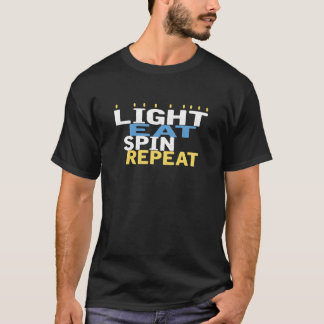 "Hanukkah ""Light Eat Spin Repeat"" Black T-Shirt"