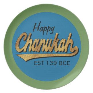 """Hanukkah Melamine/""""Retro Happy Chanukah"""" Plate 10"""""""