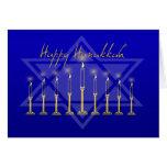 Hanukkah Menorah Blue Greeting Card