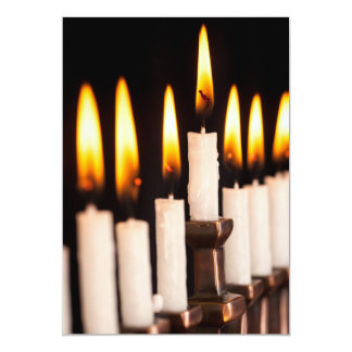 Hanukkah Menorah Burning White Candles Chanukah Card