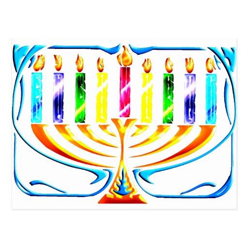 Hanukkah Menorah - Chanukah Menorah Post Cards