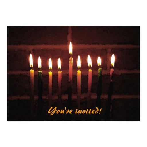 Hanukkah Menorah Custom Announcements