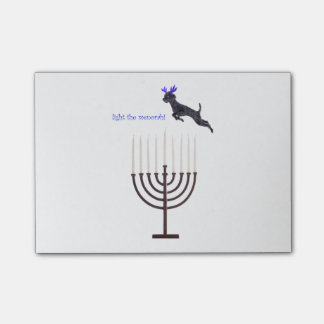 Hanukkah Menorah Poodle Dog Reindeer Candles Post-it Notes