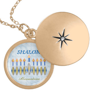 Hanukkah Menorah Shalom Customizable Name Gold Plated Necklace