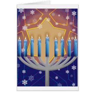 Hanukkah Menorah & Star of David Background Greeting Card